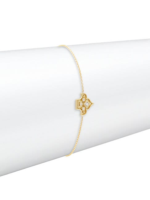 HERITAGE 18K YELLOW GOLD & DIAMOND FLEUR FINE CHAIN BRACELET