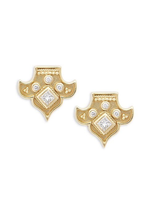 18K YELLOW GOLD AND DIAMOND HERITAGE FLEUR STUD EARRINGS