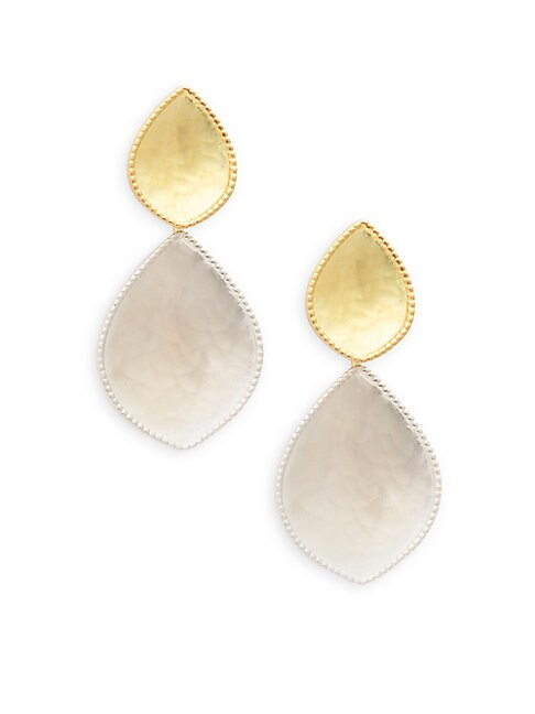 CHANDNI 18K YELLOW GOLD & STERLING SILVER HAMMERED DROP EARRINGS