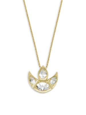 Amrapali Chandrima Topaz & 18K Yellow Gold Crescent Necklace