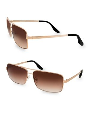 AQS Steel 60Mm Rectangular Sunglasses in Gold