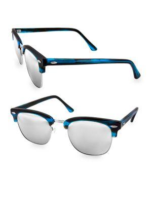 AQS Milo 49Mm Clubmaster Sunglasses in Blue