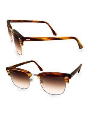 AQS Milo 49Mm Clubmaster Sunglasses in Brown