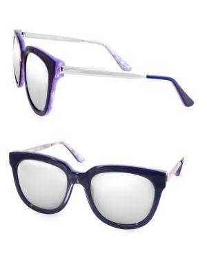 AQS Piper 55Mm Round Sunglasses in Blue