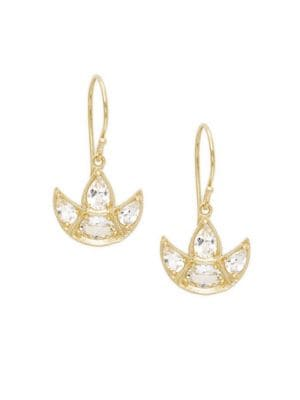 Amrapali Chandrima White Topaz 18k Yellow Gold Crescent Earrings