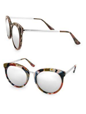 Aqs POPPY 54MM Round Sunglasses