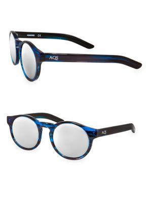 AQS Benni 49Mm Round Sunglasses in Blue Black