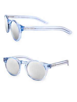 AQS Benni 49Mm Round Sunglasses in Blue Silver