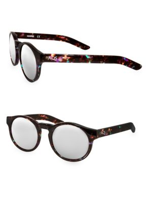 AQS Benni 49Mm Round Sunglasses in Brown Multi
