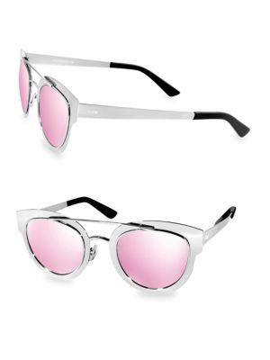 AQS Joline 49Mm Browline Aviator Sunglasses in Silver
