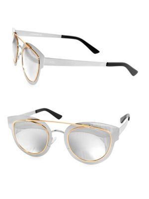 AQS Jolene 49Mm Browline Cateye Sunglasses in Silver Gold