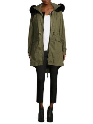 Derek Lam Fox Fur-Trimmed Anorak Coat