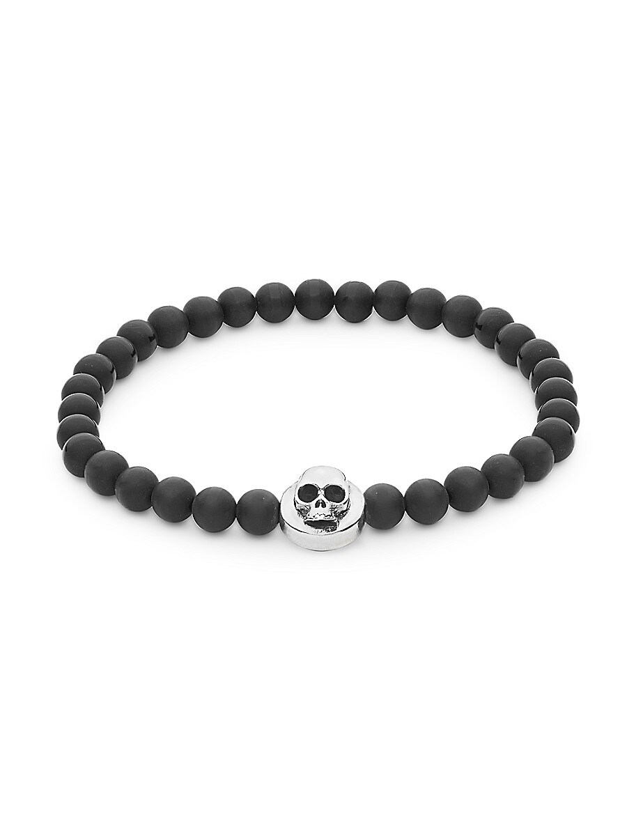 Sterling Silver & Black Onyx Beaded Skull Stretch Bracelet
