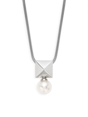 Majorica Sterling Silver & 10mm White Pearl Pendant Necklace