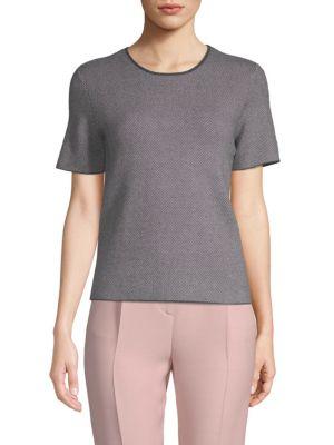 Saks Fifth Avenue  Herringbone Short-Sleeve Top