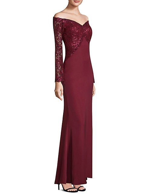 Sequin Top Floor-Length Gown