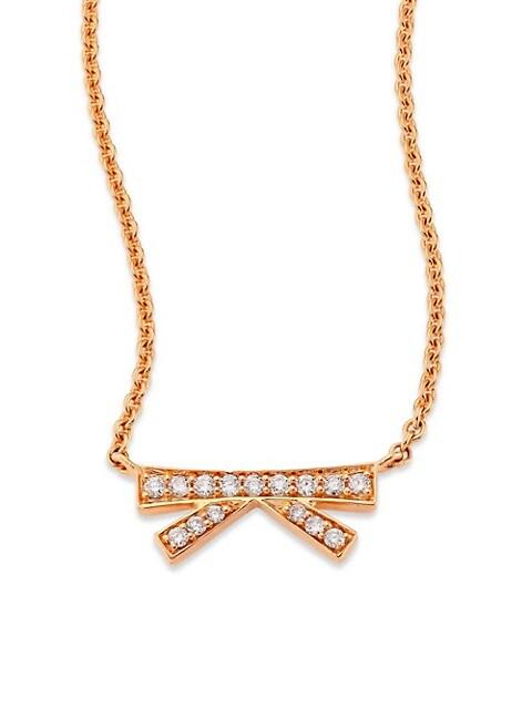 Hueb Origami Small Diamond & 18K Rose Gold Pendant Necklace
