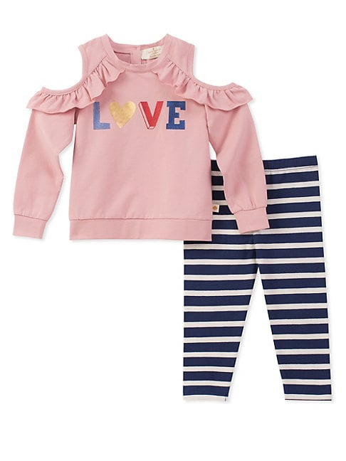 Little Girls Love Top and Striped Leggings Set
