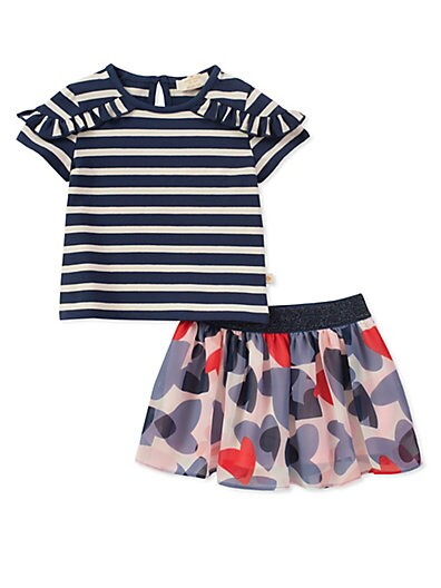 31f04dd1a Kate Spade New York Baby Girl's 2-Piece Confetti Hearts Striped Top and  Skirt Set ...