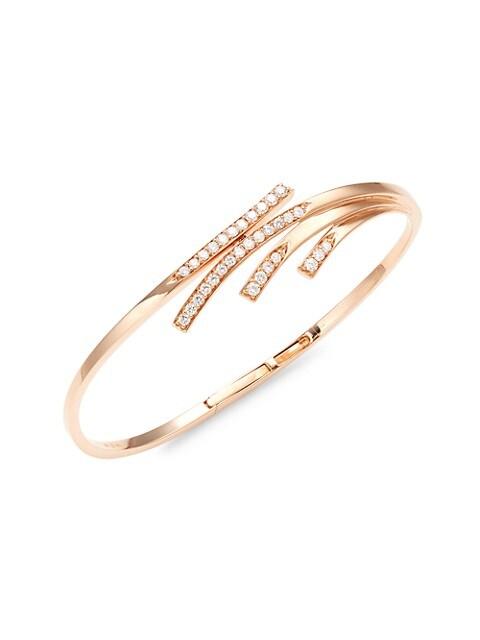 Hueb Wave 14K Rose Gold & Diamond Bangle Bracelet