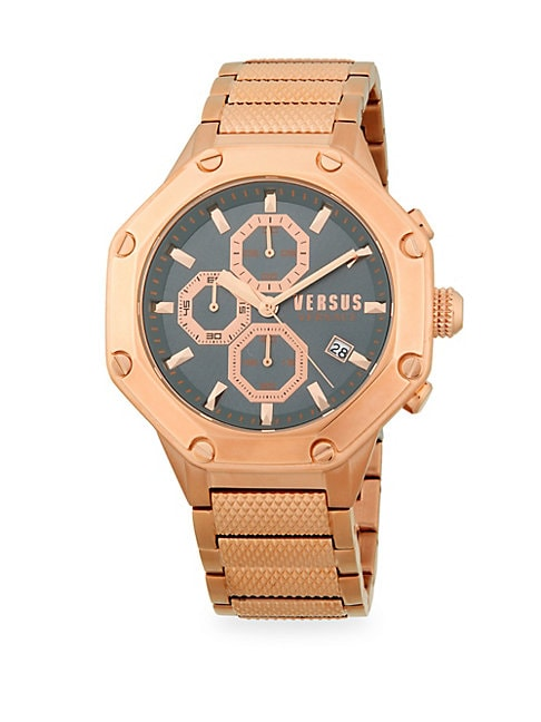 ROSE GOLDTONE STAINLESS STEEL CHRONOGRAPH WATCH