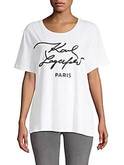 Karl Lagerfeld Paris - Script Logo Roundneck Tee