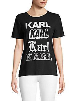 Karl Lagerfeld Paris - Newspaper Cotton-Blend Graphic Tee