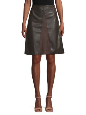 Catherine Catherine Malandrino Faux-Leather A-line Dress