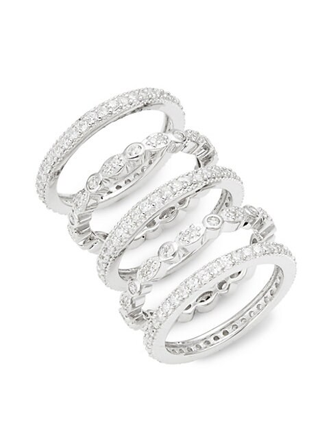 Set of Five Sterling Silver & Crystal Stackable Ring