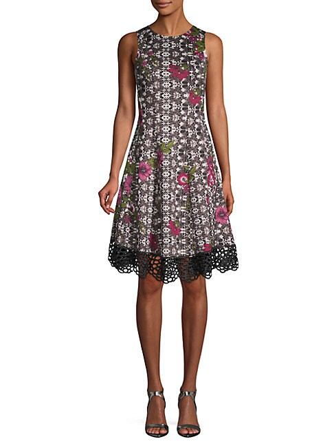 DONNA RICCO | Floral Fit-&-Flare Dress | Goxip