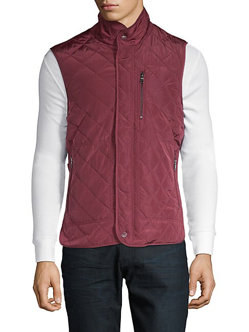 TAILORBYRD Tai Diamond Quilted Vest in Burgundy