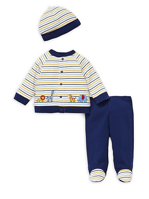 Baby Boys ThreePiece Striped Cotton Cardigan Footie Pants  Cap Set