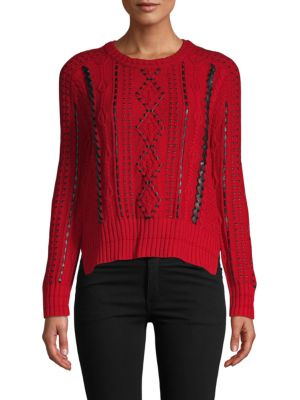 Maje Faux Leather-Trimmed Sweater