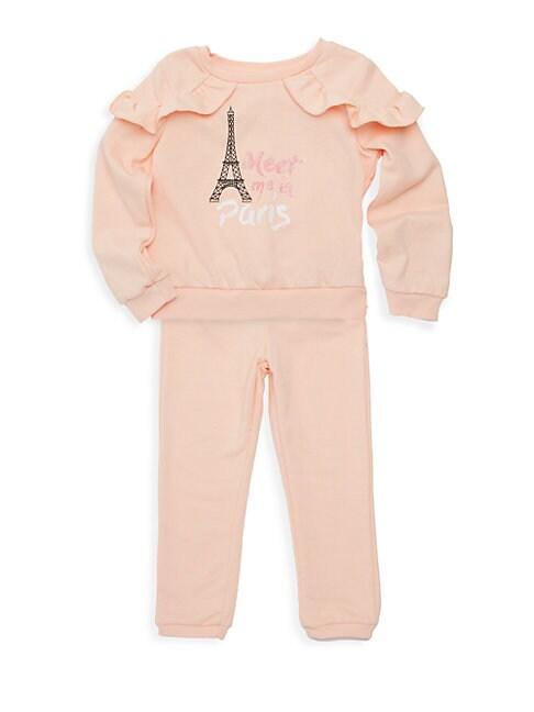 BCBGIRLS | Little Girl's Two-Piece Ruffle Sweatshirt & Pants Set | Goxip