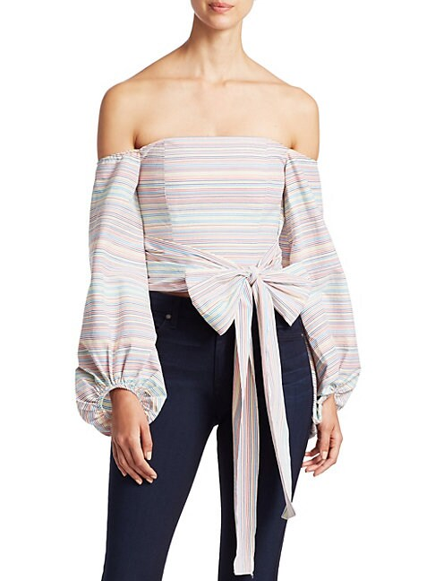 NICHOLAS Rainbow Striped Off-The-Shoulder Top in White Multi