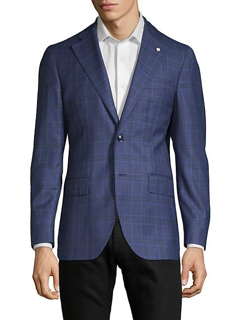 LUBIAM Plaid Wool Sportcoat in Blue