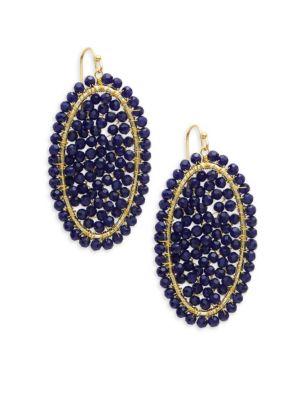 Panacea Navy Crystal Beaded Drop Earrings