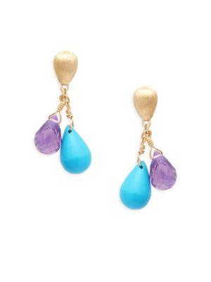 Marco Bicego Acapulco Resort 18K Gold, Turquoise & Amethyst Drop Earrings