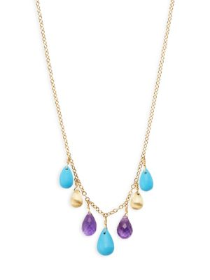Marco Bicego Acapulco Resort 18K Gold, Turquoise & Amethyst Statement Necklace