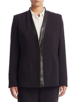 Max Mara - Plus Faux Leather-Trimmed Blazer