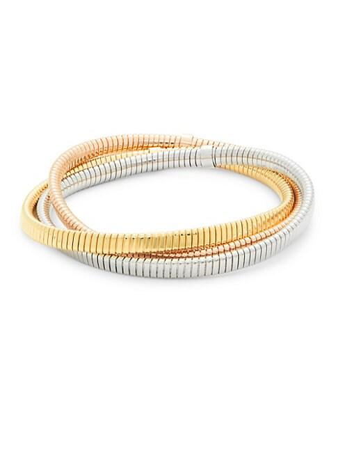 SAKS FIFTH AVENUE | 14K Italian Gold Tubogas Bracelet - Set of 3 | Goxip