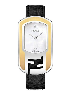 822dee384cae Fendi - Chameleon Diamond Goldtone Leather Strap Watch - saksoff5th.com