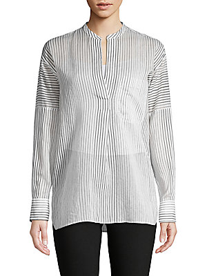 Striped Cotton & Silk Shirt by Vince