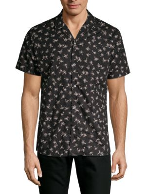 SLATE & STONE Palm Tree Print Short-Sleeve Camp Shirt in Black White