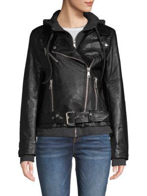 Bagatelle Hooded Faux Leather Moto Jacket
