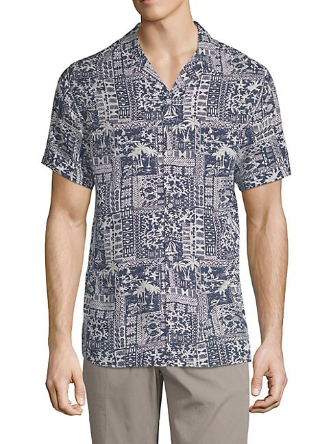Beach-Print Camp Shirt