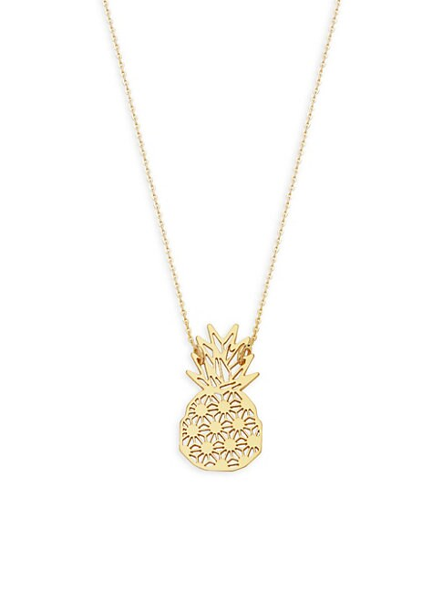 PINEAPPLE 14K YELLOW GOLD PENDANT NECKLACE