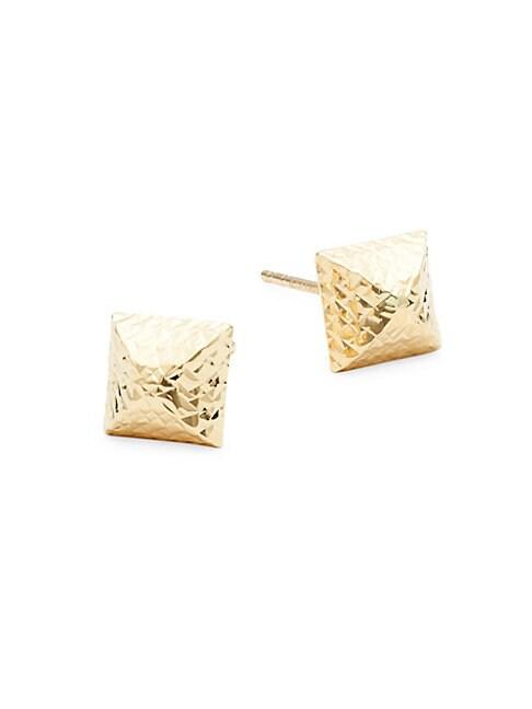 PYRAMID 14K GOLD STUD EARRINGS