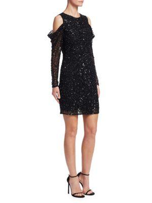 Parker Dresses Sequined Cold-Shoulder Dress