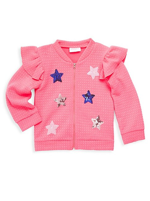 Little Girl's Sequin Star Ruffle Bomber Jacket